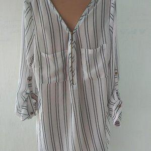 DNA Couture Blouse Size M White Black Stripes Shea
